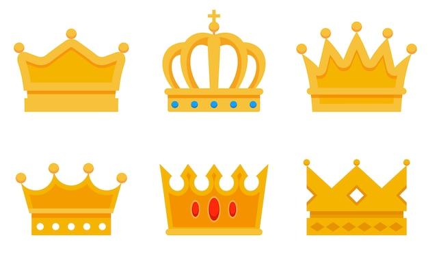 さまざまな黄金の王冠のセット。王の美しいシンボル。