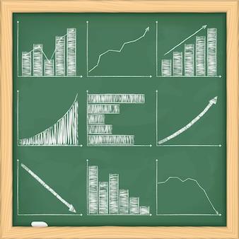 黒板上のさまざまなグラフのセット