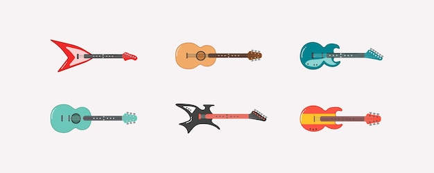 Набор различной гитары. акустическая гитара, электрогитара и укулеле на белом