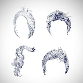 다른 머리카락과 헤어 스타일 그리기 스케치 세트