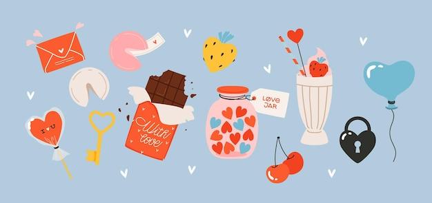 Набор различных рисованной любовных элементов