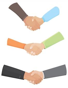 Набор различных рукопожатий.