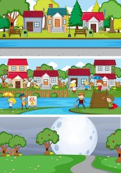 落書きの子供たちの漫画のキャラクターを使ったさまざまな地平線シーンの背景のセット