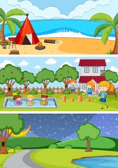 落書きの子供たちの漫画のキャラクターとさまざまな地平線のシーンの背景のセット