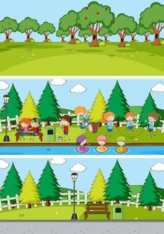 落書きキッズ漫画のキャラクターとさまざまな地平線のシーンの背景のセット