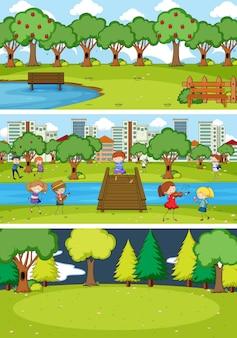 낙서 아이 만화 캐릭터와 다른 수평선 장면 세트