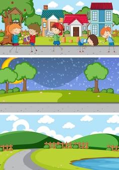 落書きキッズ漫画のキャラクターとさまざまな地平線のシーンのセット