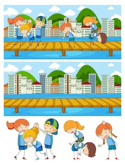 落書きキッズ漫画のキャラクターとさまざまな水平シーンの背景のセット