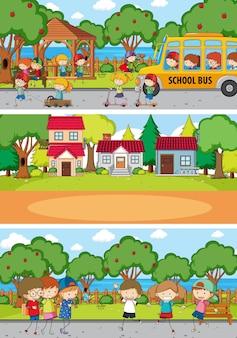 Набор различных горизонтальных сцен фона с каракули детский мультипликационный персонаж
