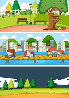 Набор различных горизонтальных сцен с каракули детский мультипликационный персонаж