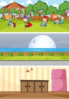낙서 아이 만화 캐릭터와 다른 수평 장면 세트