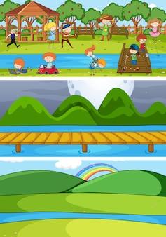 落書きの子供たちの漫画のキャラクターを使ったさまざまな水平シーンのセット