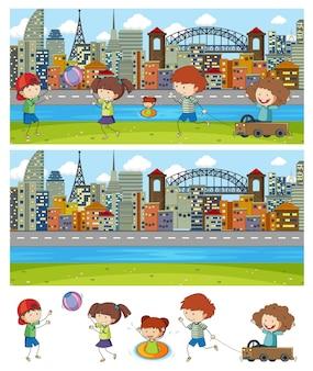 落書きキッズ漫画のキャラクターとさまざまな水平方向のシーンのセット
