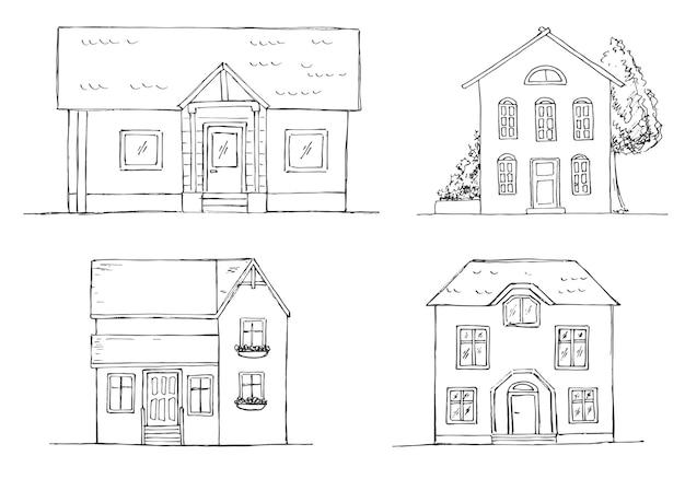 다른 집의 집합입니다. 스케치 스타일.