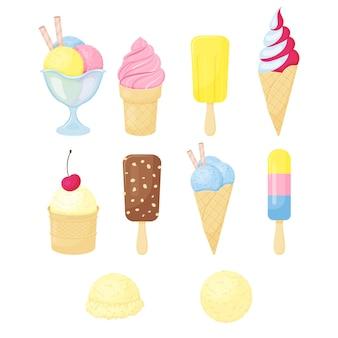 別のアイスクリームのセット。漫画のスタイル。ベクトルイラスト。白で隔離。