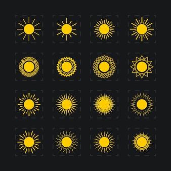 太陽、抽象的な黄色の太陽、ベクトル図のさまざまな画像のセット