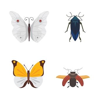 漫画のスタイルのさまざまな昆虫のセット。蝶とカブトムシのコレクション。
