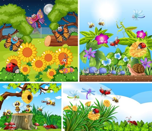 Набор различных насекомых, живущих на фоне сада