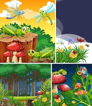 Набор различных насекомых, живущих в саду