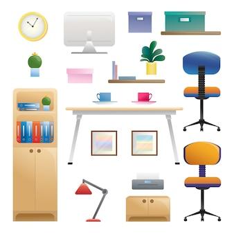 さまざまなインテリア要素のセット。作業室。スタイルのイラスト。