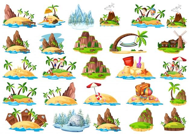Набор разных островов