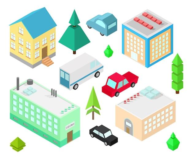 さまざまなアイソメトリック建物のセット。車、緑の茂み、木。イラストアイソメトリックスタイル。