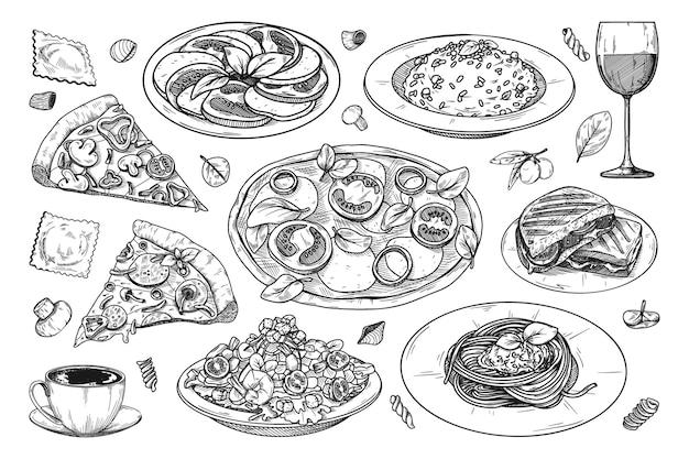さまざまなイタリア料理のセット。ピザ、スパゲッティ、リゾット、その他の人気のイタリア料理。