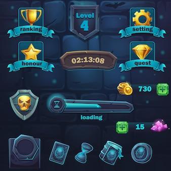 ゲームのユーザーインターフェイスのさまざまなアイテムのセット。コンピュータゲームモンスターバトルguiの背景イラスト画面。