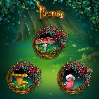 ゲームのユーザーインターフェイスのさまざまなアイテムのセット。コンピュータゲームshadowyforestguiの背景イラスト画面。