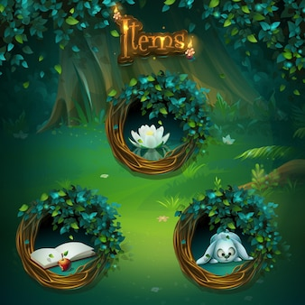 게임 사용자 인터페이스에 대한 다양한 항목 집합입니다. 컴퓨터 게임에 배경 그림 화면 그림자 숲 gui.