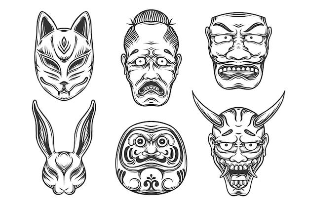 さまざまな日本のネイティブマスクのイラストのセット。黒と白のマスクのデザイン