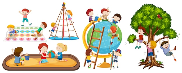 白い背景で隔離の異なる子供の活動のセット
