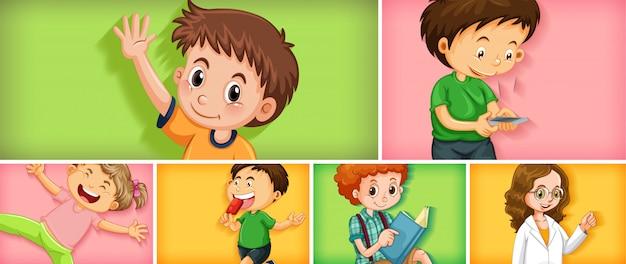 Набор разных детских персонажей на разном цветовом фоне