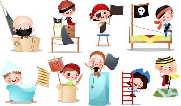 海賊ゲームで遊ぶさまざまな子供キャラクターのセット。漫画のスタイル。
