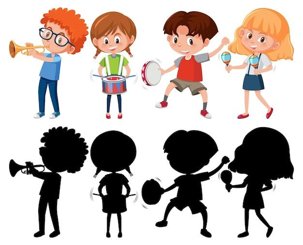 Набор разных детей, играющих на музыкальных инструментах с силуэтом
