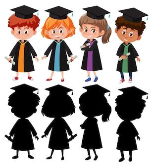 실루엣이 있는 졸업 가운을 입은 다른 아이들 세트