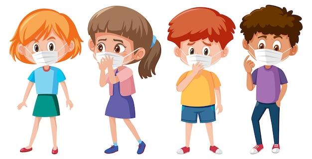 マスク漫画のキャラクターを身に着けているさまざまな子供たちのセット