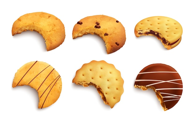 現実的な分離されたチョコレートのパン粉とジャム層で艶をかけられた噛まれたおいしいクッキーの異なる種類のセット