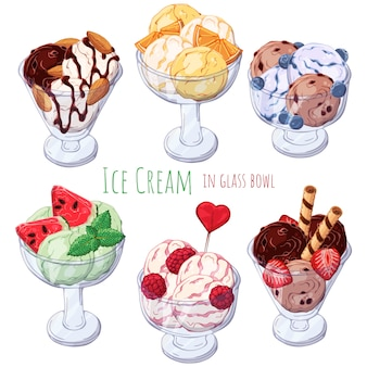 Множество разных видов мороженого в мисках