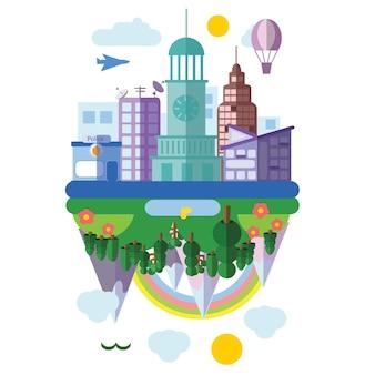 フラットスタイルのさまざまな風景のセット-都市、国、都市、山、海の風景