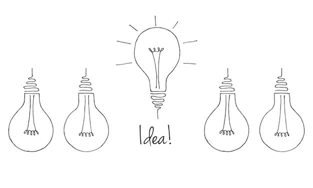 さまざまな電球のセット。アイデアのシンボル。スケッチスタイルのイラスト。