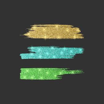 さまざまなラインブラシのセット。緑、青、金色のキラキラブラシコレクション、イラスト