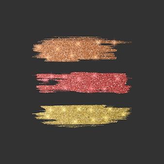 さまざまなラインブラシのセット。オレンジ、赤、金色のキラキラブラシコレクション、イラスト