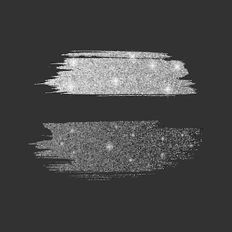さまざまなラインブラシのセット。シルバーのキラキラ光る質感とブラックのキラキラ光る質感のキラキラブラシコレクション、イラスト