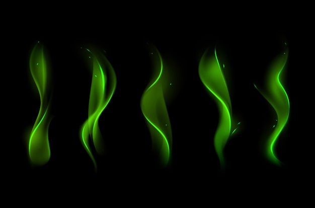 Набор различных волшебный зеленый огонь пламя на фоне