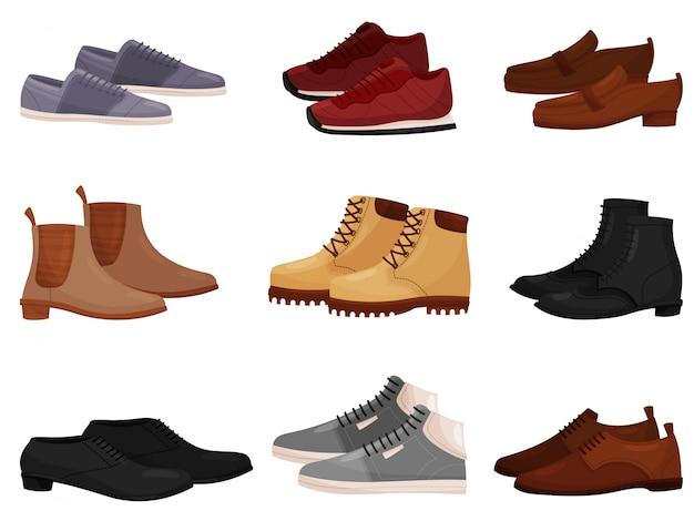 別の男性と女性の靴、サイドビューのセット。カジュアルでフォーマルなメンズシューズ。ファッションテーマ