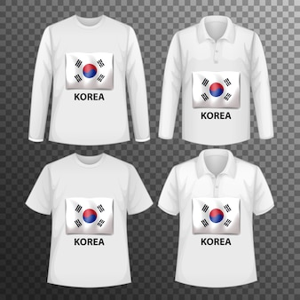 Набор различных мужских рубашек с экраном флага кореи на изолированных рубашках