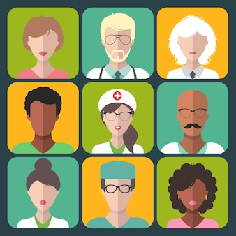 Набор иконок приложений для мужчин и женщин в различных медицинских клиниках.