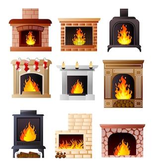Набор разных моделей камина в комнате дома или квартиры