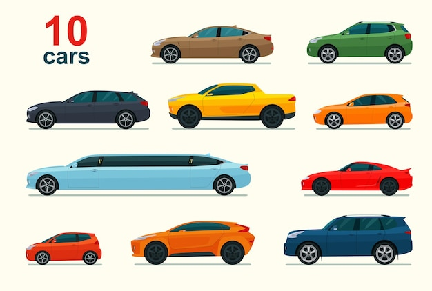 車のさまざまなモデルのセット。